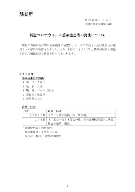 新型コロナウイルス感染症患者の発生について(1月4日発表)