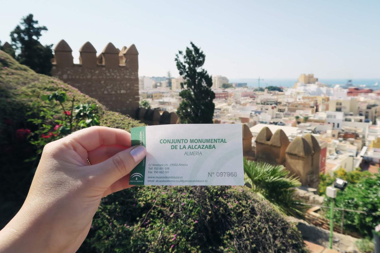 Ticket for entrance to Almeria Alcazaba