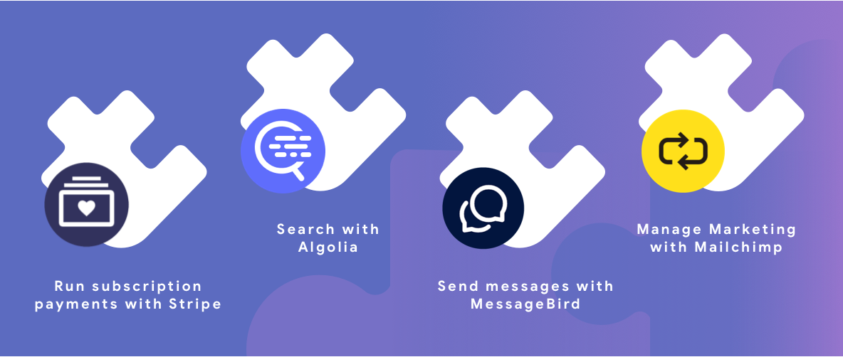 4 white puzzle pieces signifying the 4 Firebase partners with a Purple background