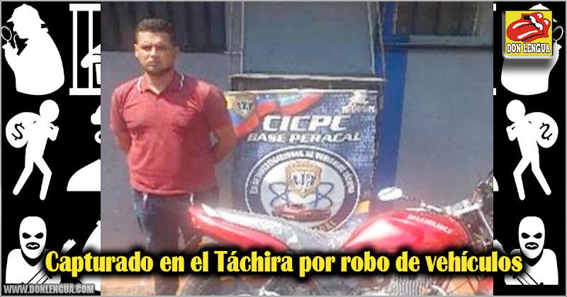 Capturado en el Táchira por robo de vehículos