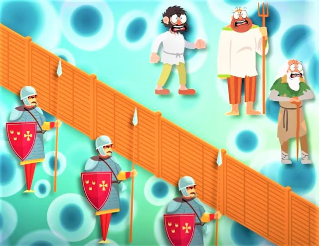 Picture of a wall and soldiers blocking a group of civilians who have been infected with the virus. Description of epidemics in history and science fiction.