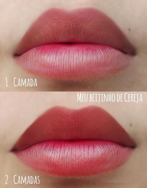 Swatches da cor beijinho de cereja