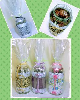 potes de vidro reciclados