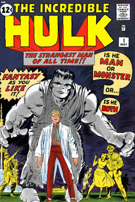 Incredible Hulk #1, origin, The Hulk looms over Bruce Banner as Betty Ross and Thunderbolt Ross look on in horror, Jack Kirby cover