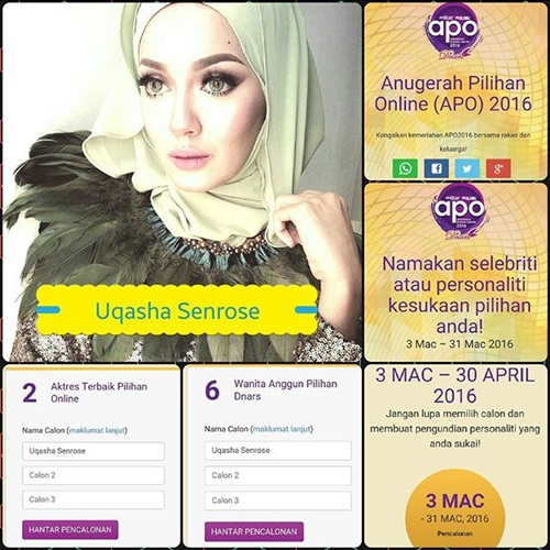 pencalonan anugerah pilihan online 2016 (apo2016), selebriti media sosial pilihan online, undi vote untuk apo2016, gambar anugerah pilihan online 2016 tv2