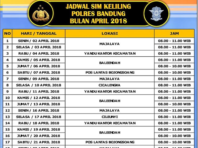 Jadwal Layanan SIM Keliling Polres Bandung Bulan April 2018