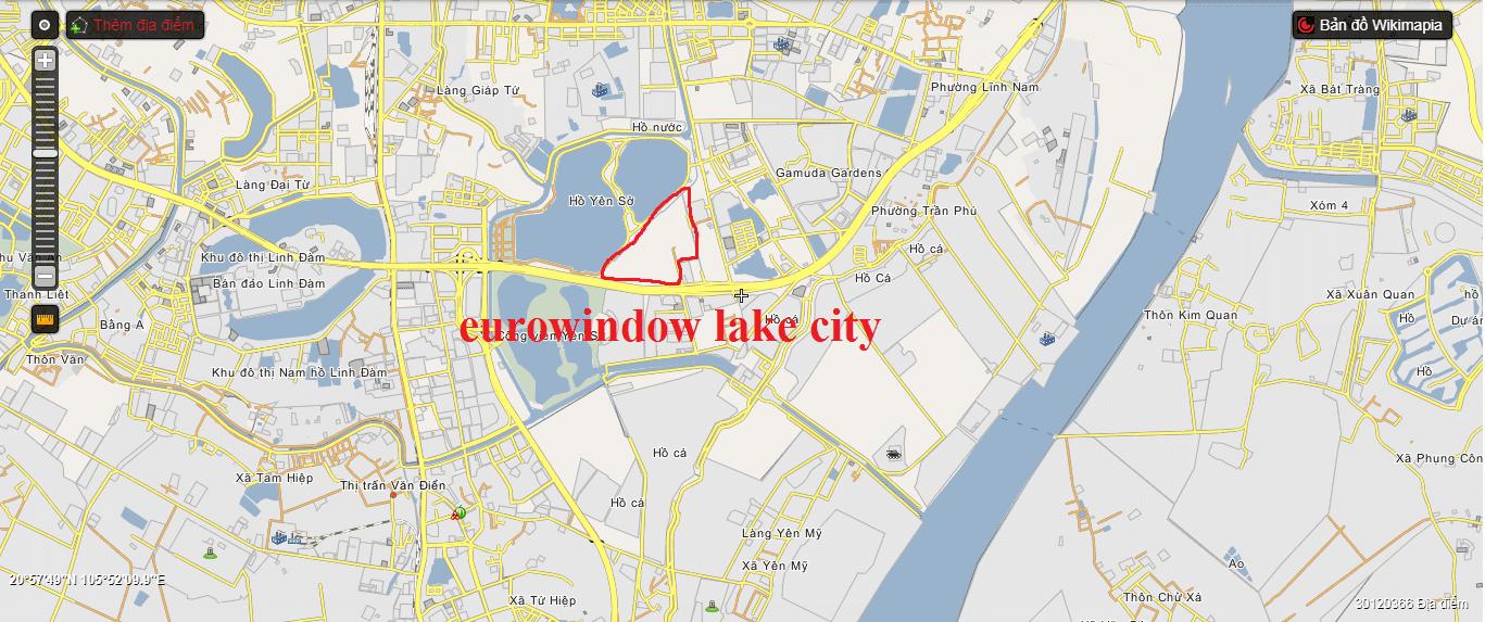 Vị trí chung cư Eurowindow Lake City.
