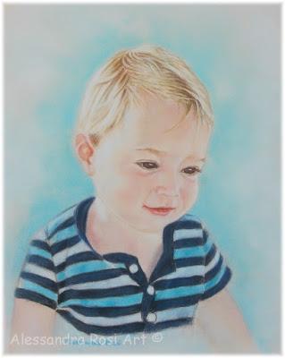 custom portrait of a child in pastel