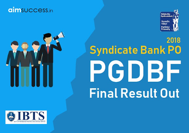 Syndicate Bank PO 2018 Final Result Out