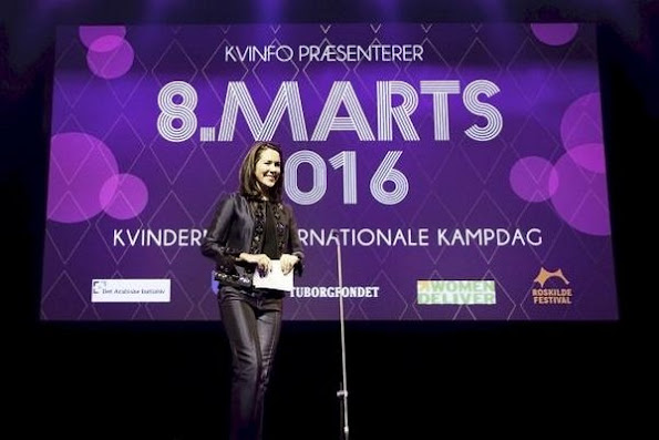 Crown Princess Mary of Denmark gives a speech at the KVINFO Conference, as patron of Women Deliver 2016 in Copenhagen.