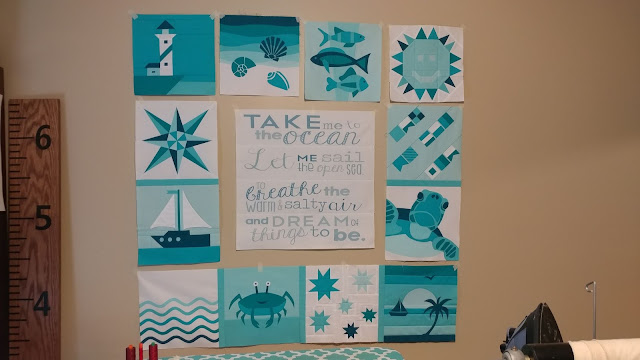 QAL By the Sea - ocean themed sampler quilt
