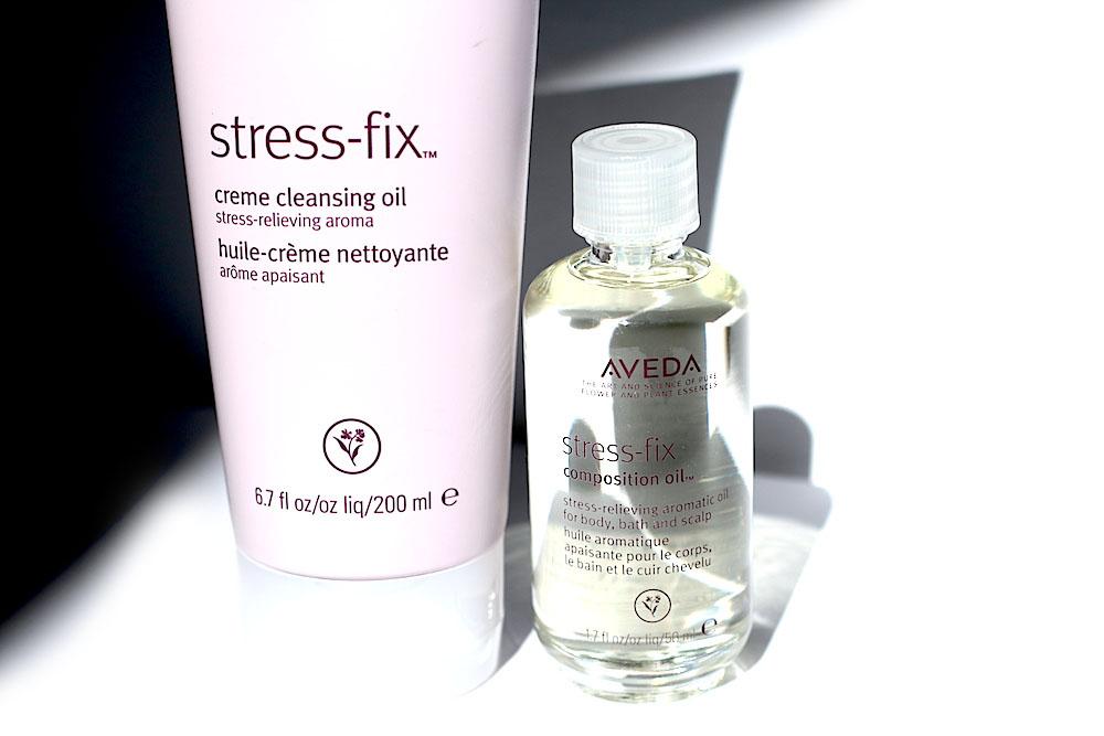 aveda stress-fix huile crème nettoyante huile aromatique apaisante avis test