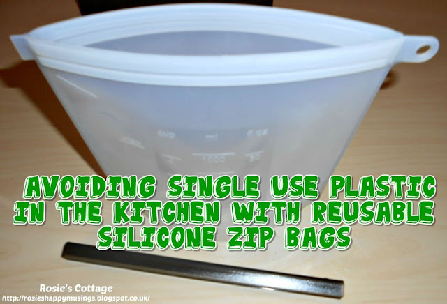 Avoiding single use plastic bags in the kitchen with reusable, silicone, zip bags.