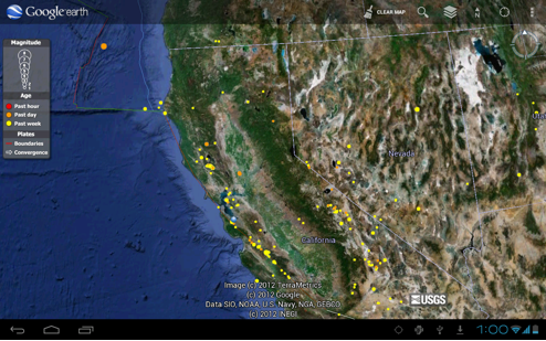 Google lat long access custom google earth content on your mobile go to the earth gallery and click on the usgs real time earthquake map to see recent earthquakes from around the world gumiabroncs Gallery