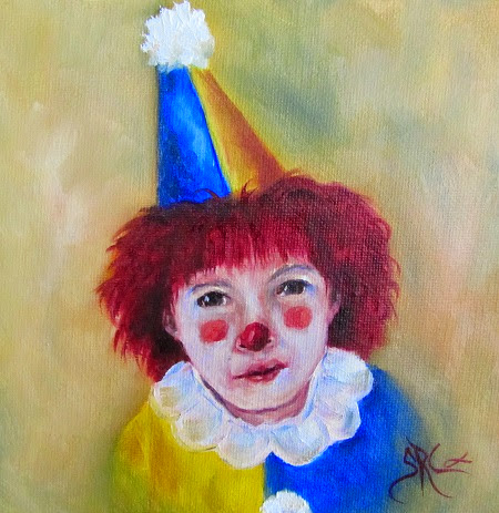 Clowning Around, child clown original in oils