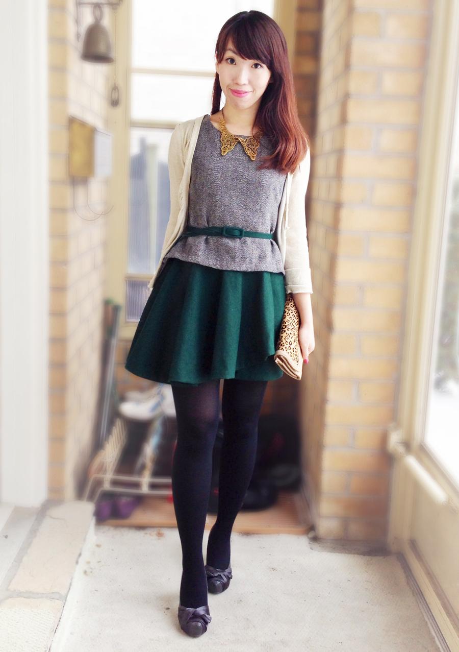 Tweed peplum top and assymetric skirt