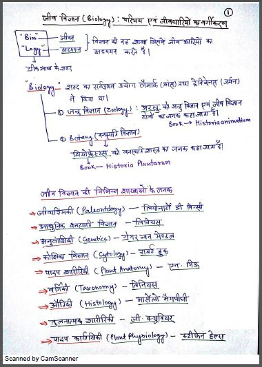 Handwritten Notes Biology : For All Competitive Exam Hindi PDF Book