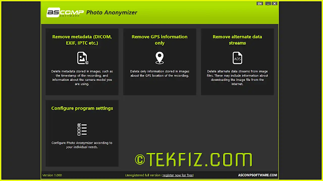 Photo anonymizer - delete meta data, GPS or ADS information from pictures