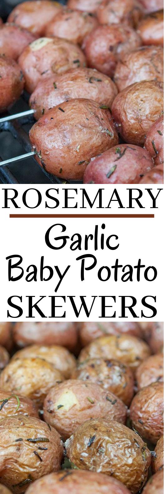 Rosemary Garlic Grilled Baby Potato Skewers #vegetarian #grilling