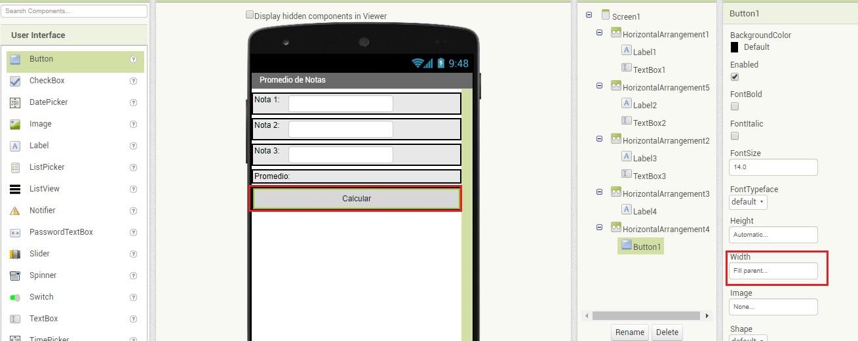 Interfaz en MIT App Inventor 2