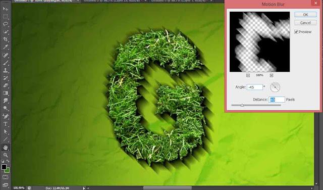 Membuat teks dengan efek rumput di photoshop