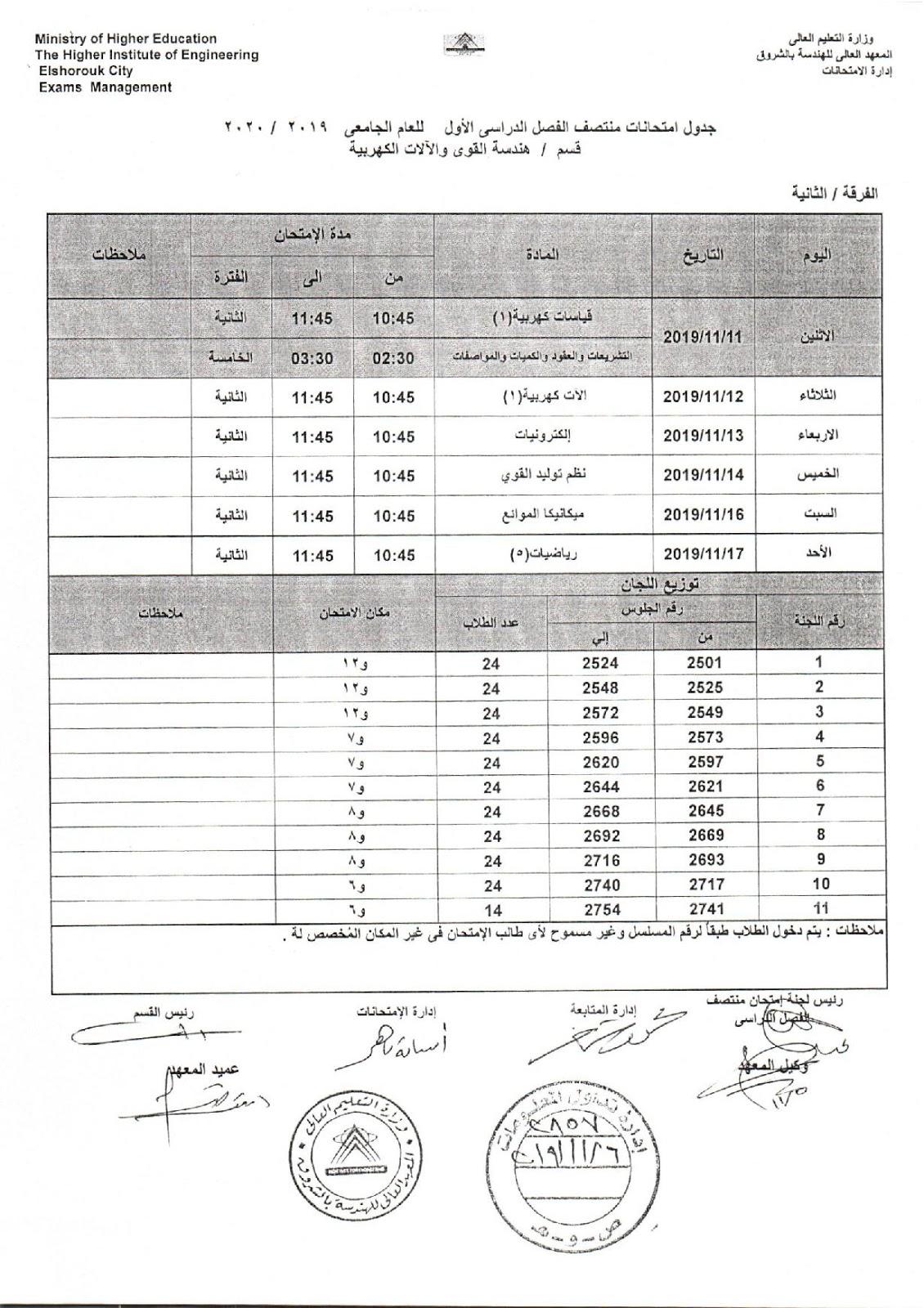 جدول امتحانات اكاديمية الشروق ثانية هندسة كهرباء باور ميدترم 2019-2020