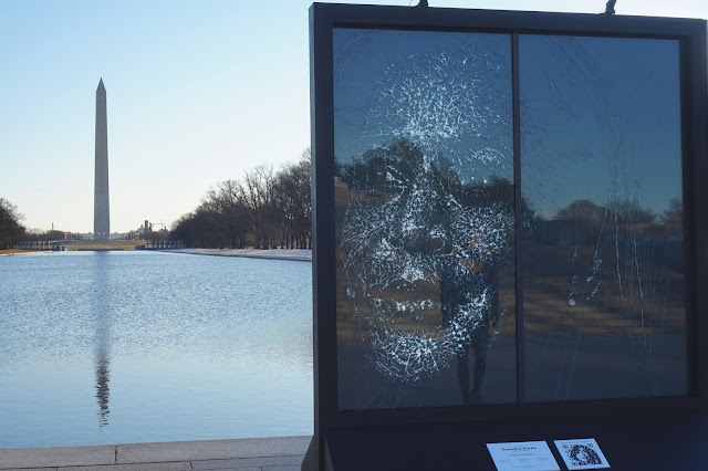 Glass Portrait of Vice President Kamala Harris at Lincoln Memorial Celebrates Her Shattering of Historic Glass Ceiling