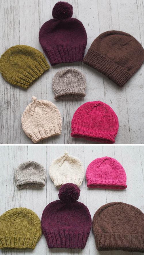 Basic Beginner Hats for the Family - Free Pattern