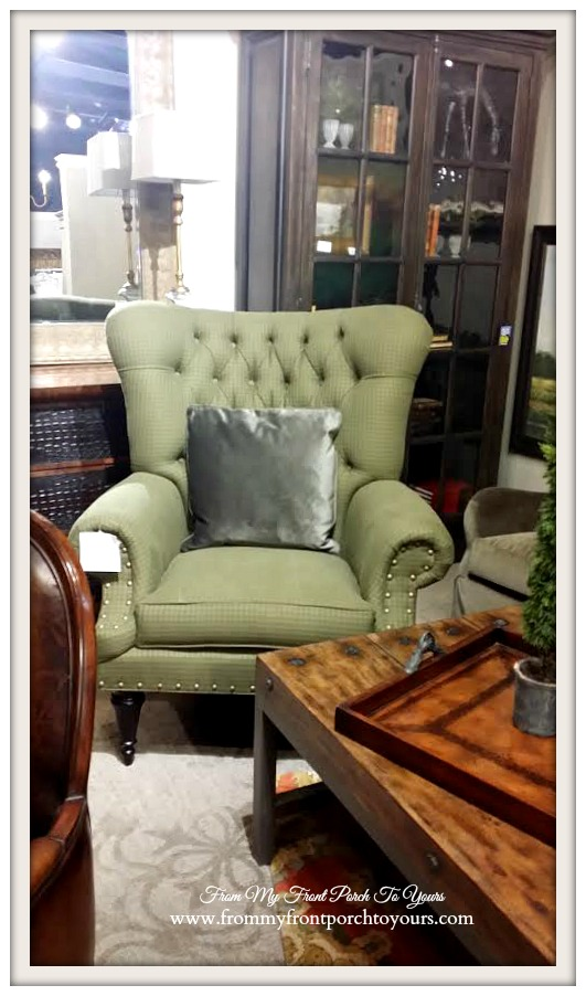 Laurie's Home Furnishings-Green Wingback Chair-From My Front Porch To Yours