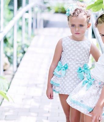 dolce petit moda infantil para bebes ,niños y niñas vestido con lunares