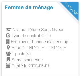 banque d'algerie agence tindouf 25 Femme de ménage