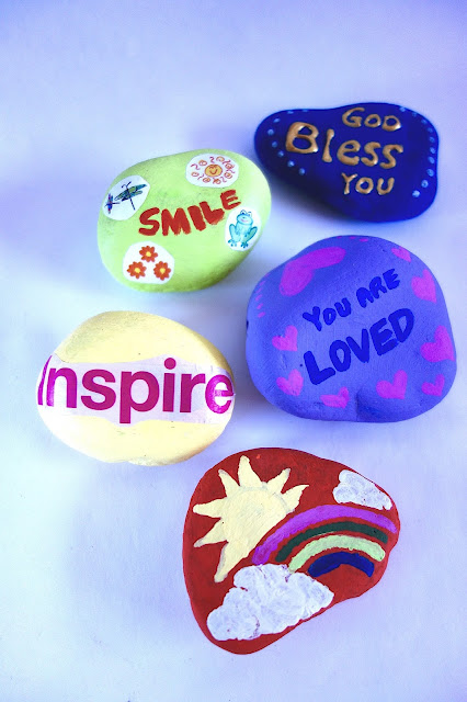painted rocks, kindness rocks, rock painting, pet rock, blah to TADA, Crafts for a Cause, nature crafts, acrylic paint, paperweights, inspire, you are loved, God Bless You, smile