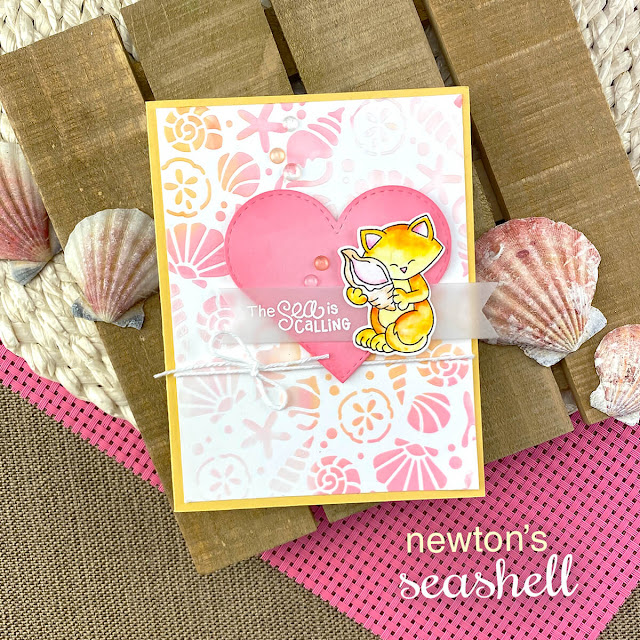 Cat and Seashell Card by Jennifer Jackson | Newton's Seashell Stamp Set and Seashells Stencil by Newton's Nook Designs #newtonsnook