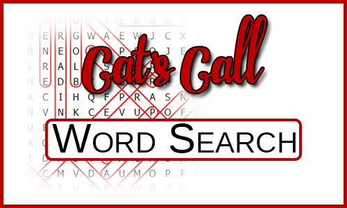 "Blurred Word Search with the title ""Cat's Call - Word Search"" over the top."