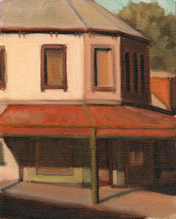 Oil painting of a Victorian-era corner shop building with a wide verandah.