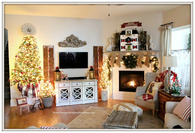 French Country Farmhouse Christmas Living Room-Christmas Mantel-Vintage Style-Olive Bucket-Vintage Tree-Hearth & Hand-Doll House-From My Front Porch To Yours