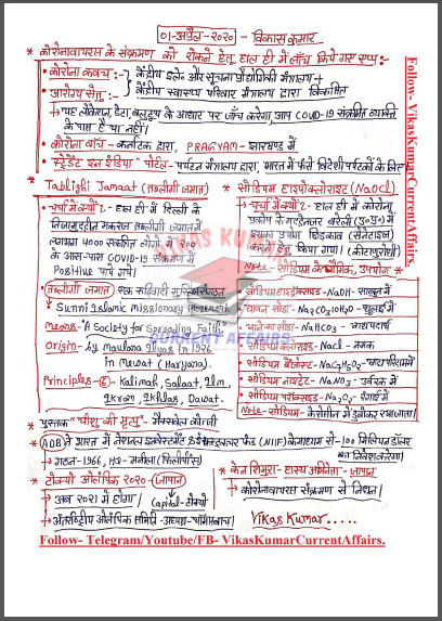 Handwritten Current Affairs (April 2020) By Vikas Kumar : For All Competitive Exam PDF Book
