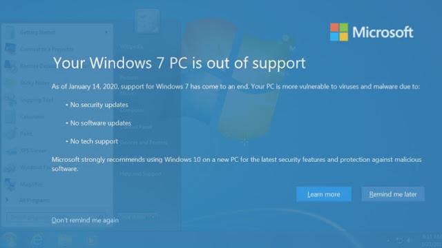 Microsoft hentikan Dukungan Windows 7