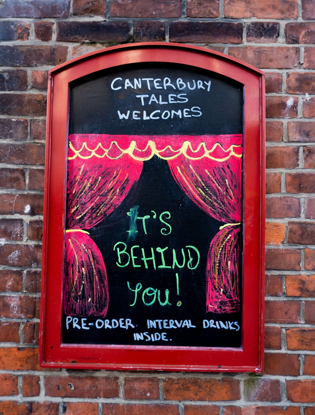 Pantomime poster outside the Canterbury Tales pub