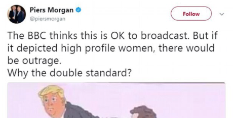 Piers Morgan launches blistering attack on the BBC for airing graphic 'homophobic' cartoon of him and Donald Trump