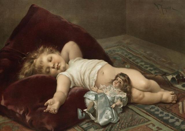 Tojetti Virgilio (1851-1901) Sleeping-Baby
