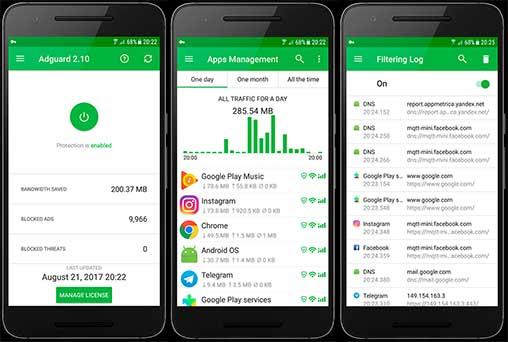 تحميل تطبيق لإزالة الإعلانات في التطبيقات والمتصفحات ويحمي خصوصيتك  Adguard 3.3.166 Premium Apk للاندرويد