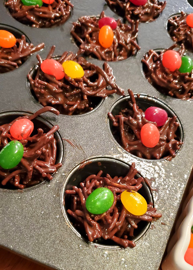 these are Easter haystacks cooling with jelly beans on top for Easter candy