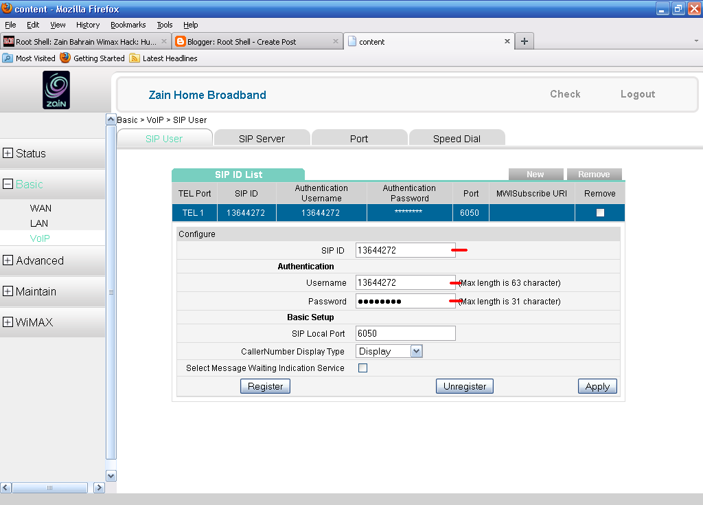 Root Shell (Bahrain): Zain Wimax VoIP Hack: Call FREE with