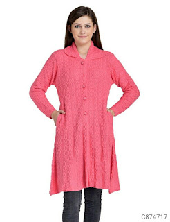 Women's Woolen Blend Solid Long Sweaters