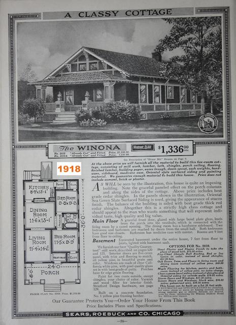 black and white catalog image of Sears Winona
