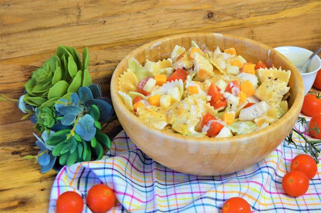 ensalada Cesar, ensalada cesar de pasta, ensalada cesar de pasta receta facil y deliciosa, receta de ensalada cesar de pasta, Receta de Ensalada de pasta con salsa César, las delicias de Mayte,