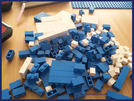 Selecting Blue and White Lego pieces to make a Father's Day Gift