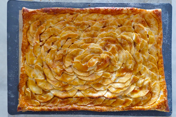 baked apple mosaic tart on baking sheet