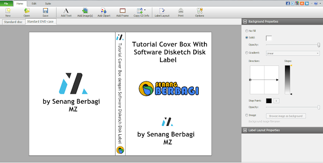 cara print cover box dengan software disketch disk label